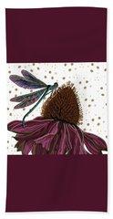 Dragon Fly And Echinacea Flower Bath Towel