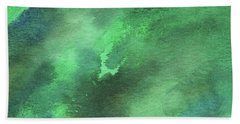 Dramatic Organic Green Abstract In Watercolor  Hand Towel