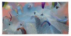 Dream Gliding Cityscape Bath Towel