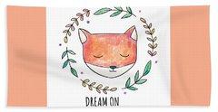 Dream On - Boho Chic Ethnic Nursery Art Poster Print Bath Towel