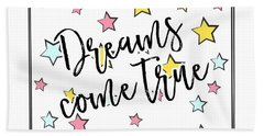 Dreams Come True - Baby Room Nursery Art Poster Print Hand Towel