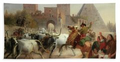 Driving Cattle Before The Porta San Paolo And Pyramid Of Cestius, Rome Bath Towel