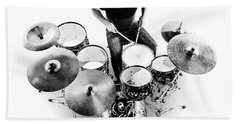 Drummer From Above Bath Towel
