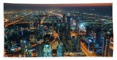 Dubai From Burj Khalifa At Night Bath Towel