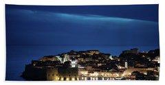 Dubrovnik Old Town At Night Bath Towel