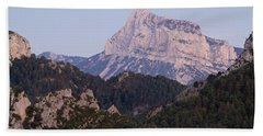 Bath Towel featuring the photograph Dusk At Pena Montanesa by Stephen Taylor