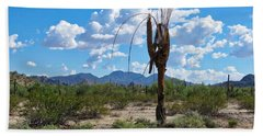 Dying Saguaro In The Desert Bath Towel