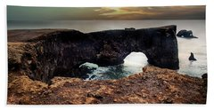 Dyrholaey Viewpoint In Iceland Hand Towel