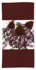 Echinacea Flowers Line Hand Towel
