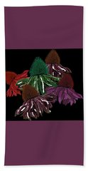 Echinacea Flowers With Black Hand Towel