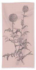 Echinopos Blush Pink Flower Bath Towel