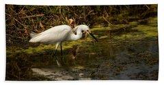 Egret Hunts Hand Towel
