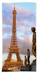 Eiffel Tower At Sunset Hand Towel