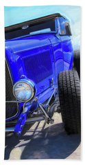 Electric Blue Hot Rod Roadster Bath Towel