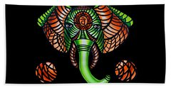 Elephant Head Painting, Sacral Chakra Art, African Tribal Animal Artwork, Zentangle Art Hand Towel