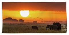 Elephants At Sunrise In Amboseli, Horizonal Banner Hand Towel