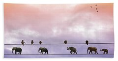 Elephants On The Wires Hand Towel