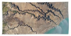 Elevated View Of The Shore Of The Dead Sea F4 Hand Towel