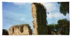 Elgin Cathedral Ruins Painting Bath Towel