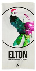 Elton Watercolor Poster Bath Towel