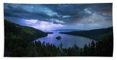 Emerald Bay Electric Skies By Brad Scott Hand Towel