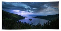 Emerald Bay Electric Skies By Brad Scott Bath Towel