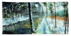Emerald Winter Scene Bath Towel