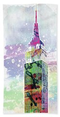Empire State Building Colorful Watercolor Bath Towel