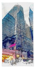 Empire State, Street View -  Watercolor By Adam Asar Hand Towel