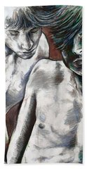 Bath Towel featuring the painting Entanged Boys by Rene Capone