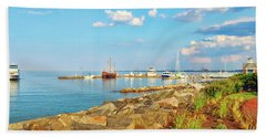 Evening At Riverwalk Landing In Yorktown Virginia Hand Towel
