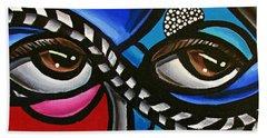 Eye Art Painting Abstract Chromatic Painting Electric Energy Artwork Bath Towel