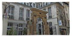 Facade On Rue Des Rosiers Hand Towel