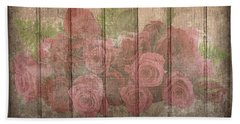 Faded Red Country Roses On Wood Bath Towel