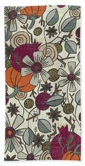 Fall Botanical Art Cream Background Bath Towel