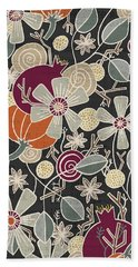 Fall Botanical Art Black Background Bath Towel