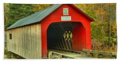 Fall Foliage Around The Green River Covered Bridge Hand Towel