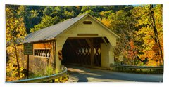 Fall Foliage At The West Dummerston Covered Bridge Hand Towel