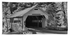 Fall Foliage At The West Dummerston Covered Bridge Black And White Hand Towel