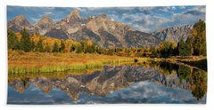 Fall Reflections In The Tetons Bath Towel