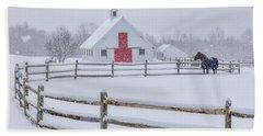 Farm In The Snow Hand Towel