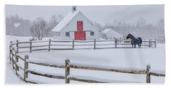 Farm In The Snow Bath Towel
