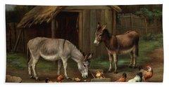 Farmyard Scene With Donkeys And Chickens Bath Towel