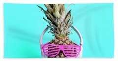 Fashionable  Trendy Pineapple Fruit With Headphones And Sun Glas Hand Towel