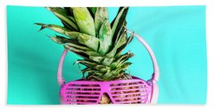 Fashionable Trendy Pineapple Fruit With Headphones And Sun Glass Hand Towel