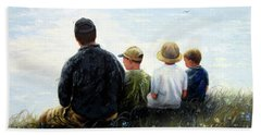 Father Three Sons By Lake Hand Towel