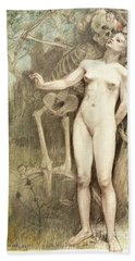 Female Nude With Death As A Skeleton, 1897  Hand Towel