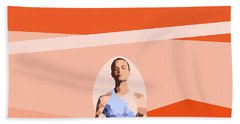 Feminine Energy. A Woman Meditates In The Lotus Position. Abstract Orange Painting. Hand Towel