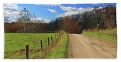 Hand Towel featuring the photograph Fence And Country Road by Angela Murdock