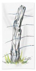 Fence Post Colored Pencil Sketch  Hand Towel